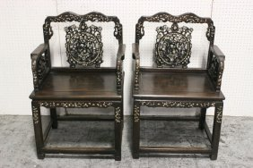 Pr Chinese 19th C. Rosewood Armchairs W/ Mop Inlaid