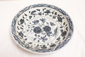 Chinese B&w Porcelain Platter By Yu Peng Huang