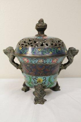 Chinese Bronze Covered Censer Enhanced W/ Cloisonne
