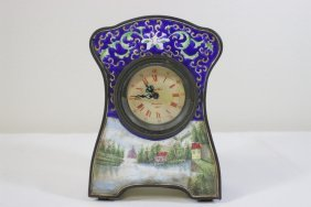 Chinese Enamel On Brass Table Clock