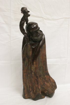 Chinese Root Wood Carved Lohan