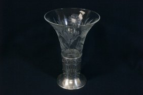 Etched Crystal Vase With Sterling Stand