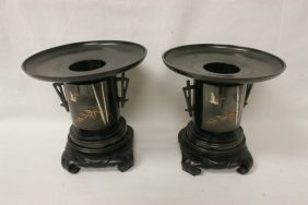 Pair Japanese Bronze Flower Vases