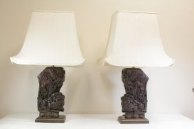 Pair Chinese Vintage Wood Carved Lamp
