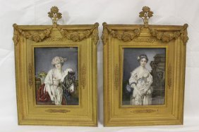 Pair Antique Paintings On Ivory Plaque By Lagarde