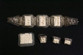 Chinese Antique Silver And Ivory Jewelry