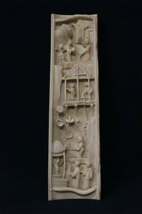 Chinese 19th C. Canton Ivory Carved Armrest