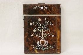 Antique Tortoise Shell Carved Box W/ Mop Inlaid