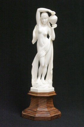 European Ivory Carved Nude On Wood Stand