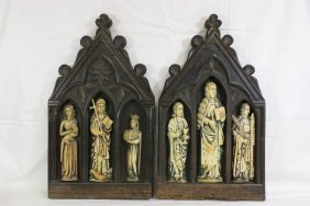 Pr 18th C. Wall Plaques With Ivory Carving