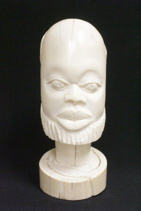 A Large African Antique Ivory Carved Head