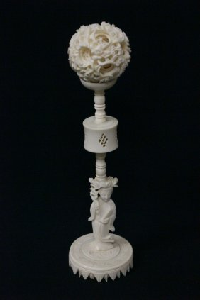 Chinese Ivory Carved Multi-layer Ball And Stand