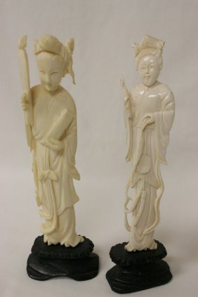 2 Chinese Ivory Carved Figures