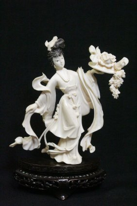 Fine Chinese Ivory Carved Flower Lady