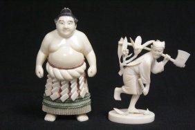 2 Vintage Japanese Ivory Carved Okimono