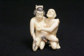 Japanese Ivory Carved Okimono In Erotic Motif