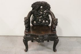 Chinese Antique Rosewood Carved Armchairs