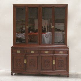 A Large Chinese 2-section Rosewood China Cabinet