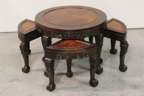 Chinese Rosewood Low Table With 4 Stools