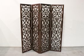 Chinese Rosewood Carved 4-panel Room Divider