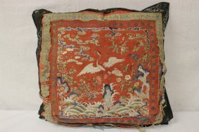 Chinese Antique Embroidery Panel As Pillow Case