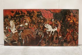 A Large Chinese Painting On Lacquer Board