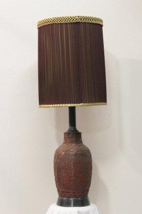 Chinese Cinnabar Style Jar Made As Lamp