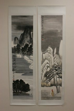 Pair Chinese Unframed Watercolor