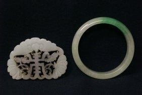 Chinese Bangle Bracelet And Celadon Jade Plaque