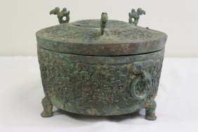 Archaic Style Covered Bronze Vessel