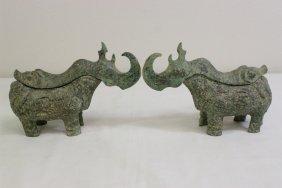 Pair Archaic Bronze Sculpture Of Censer