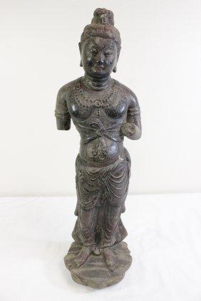 Chinese Stone Carved Standing Buddha