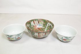 2 Chinese Wucai Wine Cups & A Rose Canton Bowl