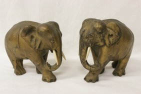 Pair Gold Painted Wood Carved Elephant