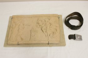 Vintage Terracotta Wall Plaque And A Belt With Nazi