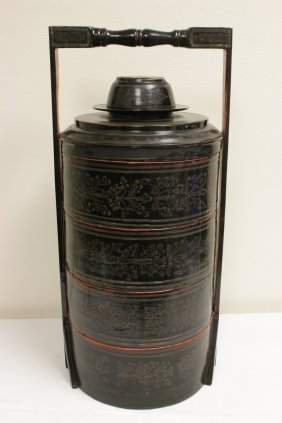 Chinese Vintage Black Lacquer Stackable Boxes