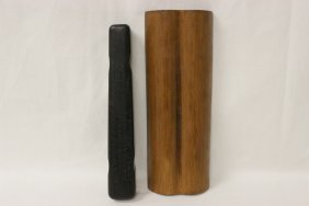 Chinese Zitan Box With Letter Opener & A Bamboo Armrest