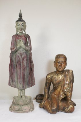 2 Thai Wood Carved Buddha