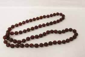Carved Amber Like Bead Necklace