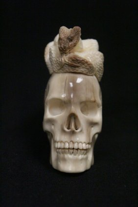 Ivory Carved Skull With Snake On Top