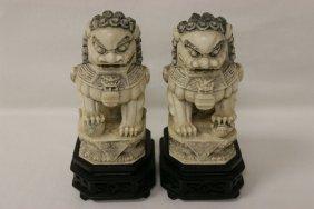 Pair Chinese Ivory Fulion