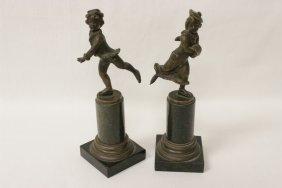 Pr Antique Bronze Sculpture On Pedestal, Signed