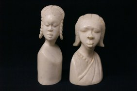 2 African Ivory Carving Depicting Lady's Bust