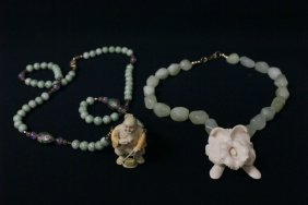 2 Ivory Pendant With Bead Necklace