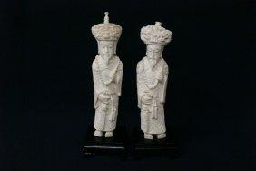 2 Ivory Carved Emperor