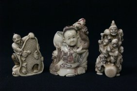 3 Japanese Ivory Carved Netsuke