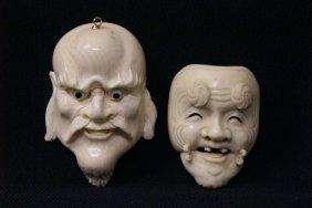 2 Ivory Carved Masks