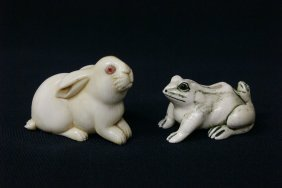 2 Japanese Ivory Carved Netsuke