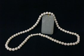 White Jade Plaque With An Ivory Bead Necklace