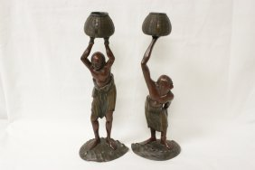 Pair Japanese 19th Century Bronze Sculpture